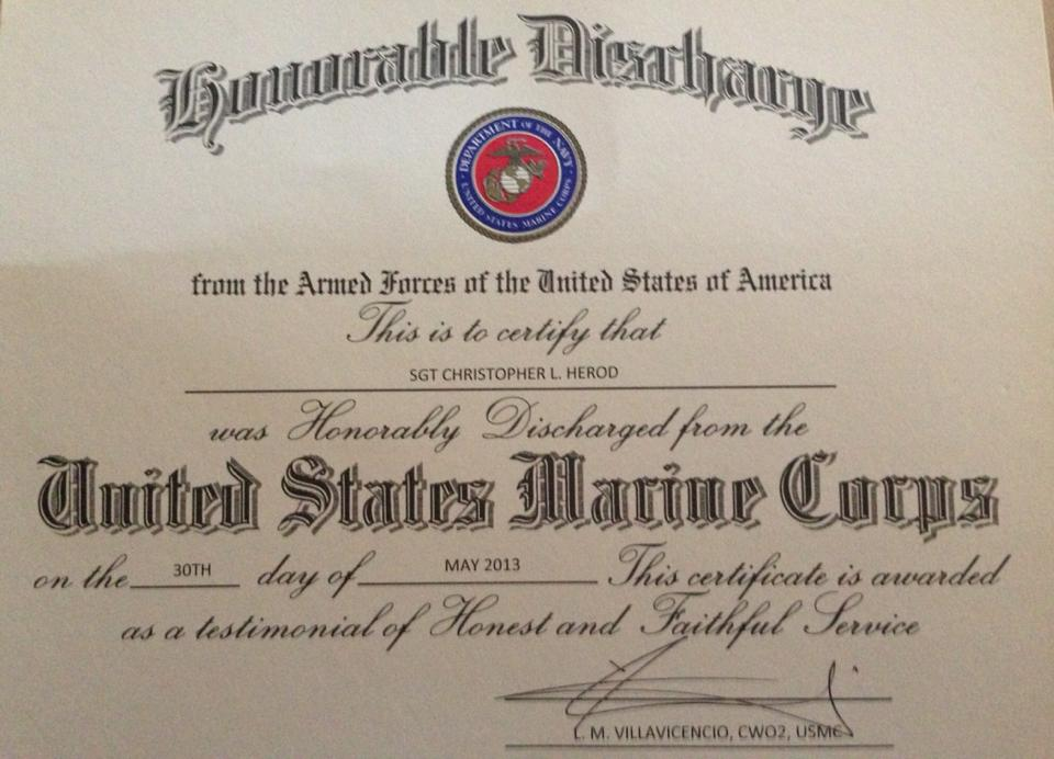 Honorable Discharge from the Marines