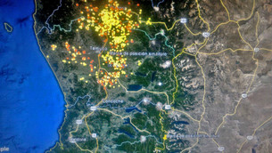 Humo sobre SMA producto de quemas en Chile