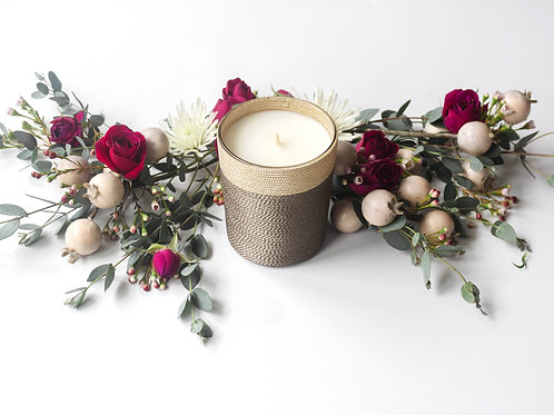 Pomegranate Rose Suede Home Candle - 40 Hour Burn Time | Single Wick