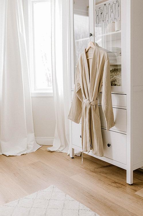 Cocoon Cotton Robe - BEIGE