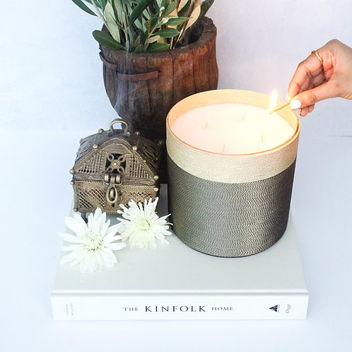 Pomegranate Rose Suede Home Candle - 180 Hour Burn Time | Four Wicks
