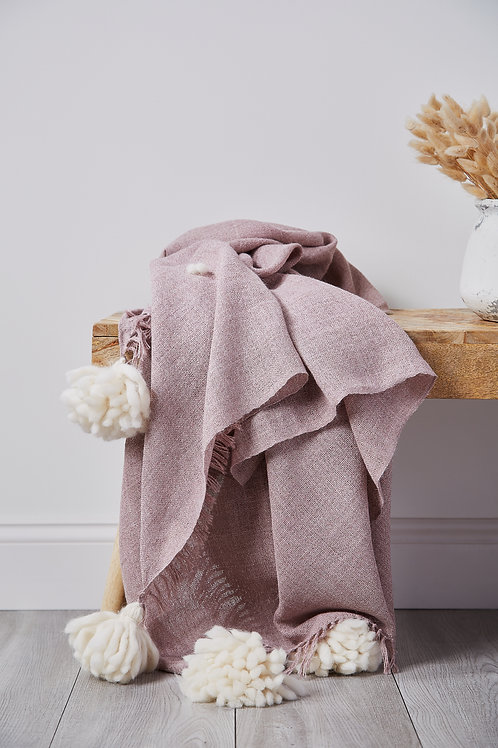 AIKO ALPACA THROW - BLUSH