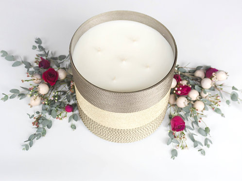 Pomegranate Rose Suede Home Candle - 400 Hour Burn Time | Five Wicks