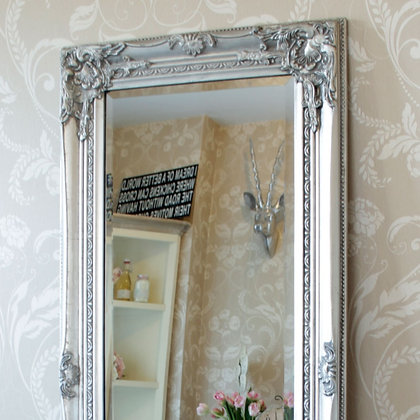 Large Ornate Silver Mirror
