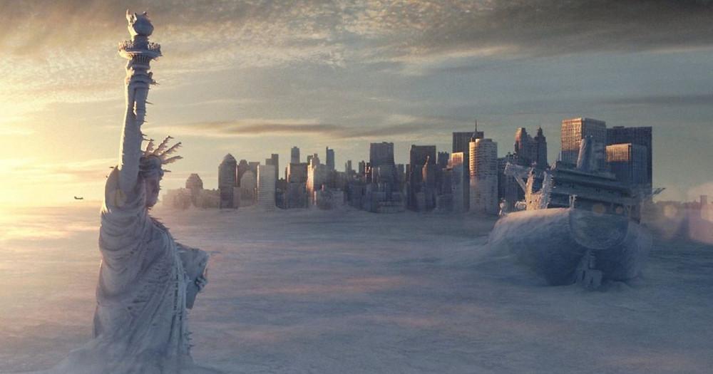 영화 투모로우의 한 장면, 뉴욕이 얼어붙었다