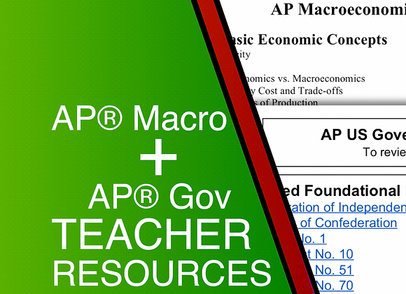 AP Macro + AP Gov Teacher Resources 2021