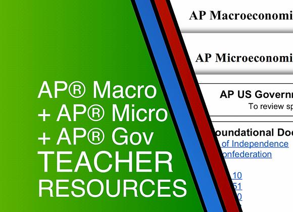 AP Macro + AP Micro + AP Gov Teacher Resources 2020