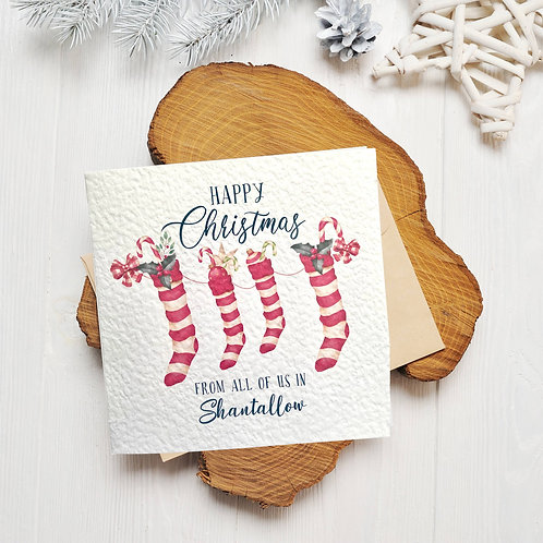 Happy Christmas From All Of Us Greeting Card