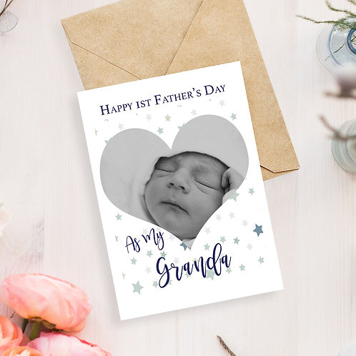 Happy First Fathers Day As My Granda Greeting Card