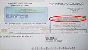 Colorado Vehicle License Renewal Letter