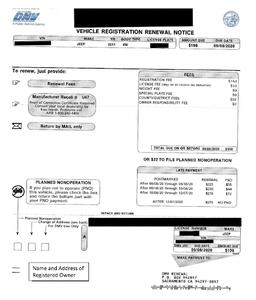 Vehicle registration renewal in California