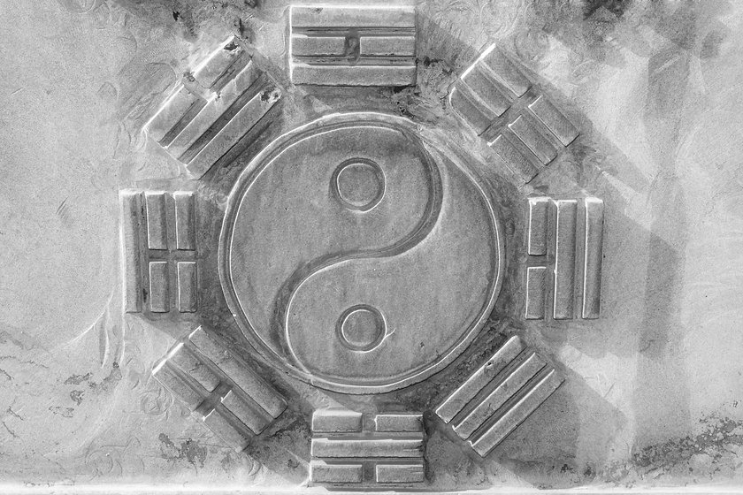 Chinese Eight Trigrams in the gray rock