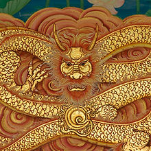 dragon painting on Chinese temple wall a