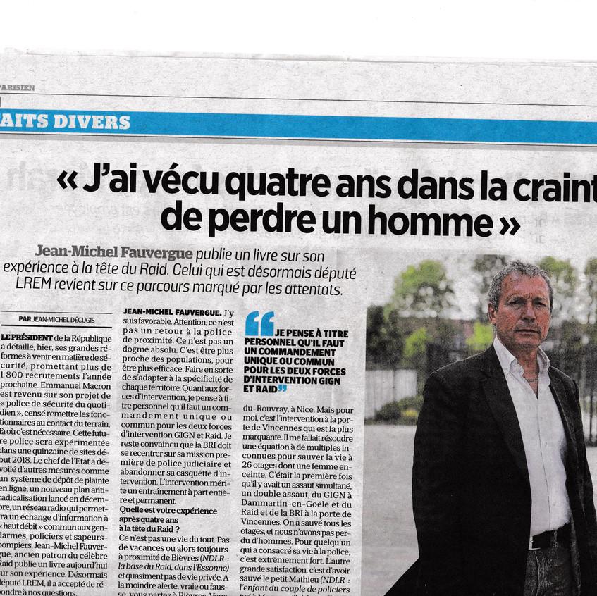 Article JM Fauvergue Le Parisien