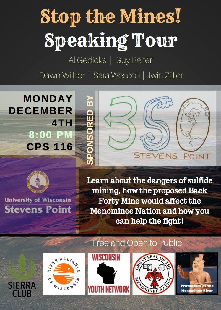 Protectors of the Menominee River Join River Alliance, 350.org and more on No Back 40 Mine Speaking