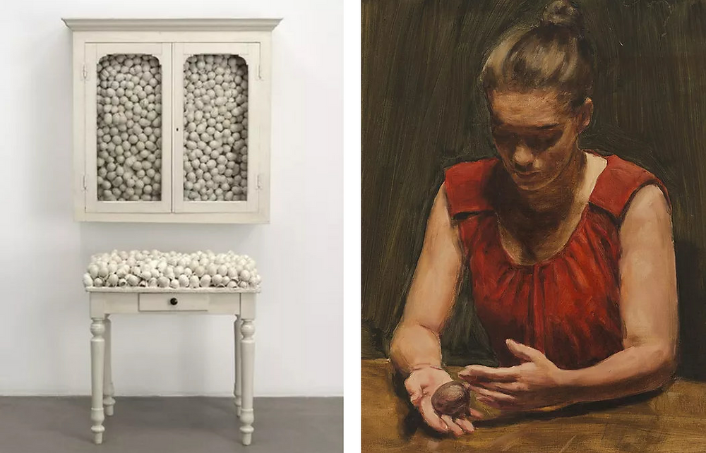 Left image: Marcel Broodthaers, Armoire blanche et table blanche, 1965. Painted furniture with eggshells - 86 x 82 x 62 cm & 104 x 100 x 40 cm. Courtesy of The Museum of Modern Art, New York. / Right image: Michaël Borremans, The Egg IV, 2012. Oil on canvas - 42 x 36 cm. Courtesy of Zeno X Gallery.