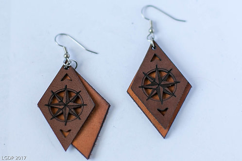 23CL - Mariner's Compass Diamond Laser Cut Leather Earrings