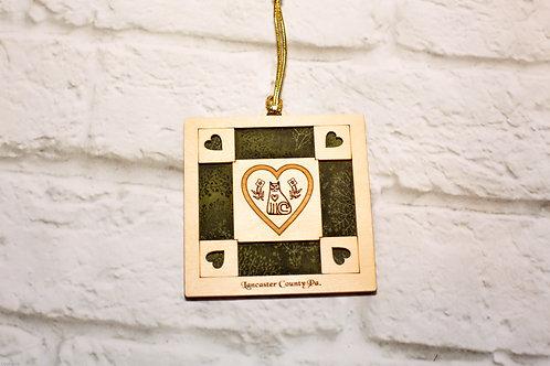 4065 - Quilt Ornament, Lancaster Heart Cat