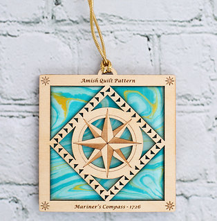 4041A - Quilt Ornament, Batik Mariner's Compass