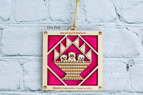 4034 - Quilt Ornament, Basket with Cats