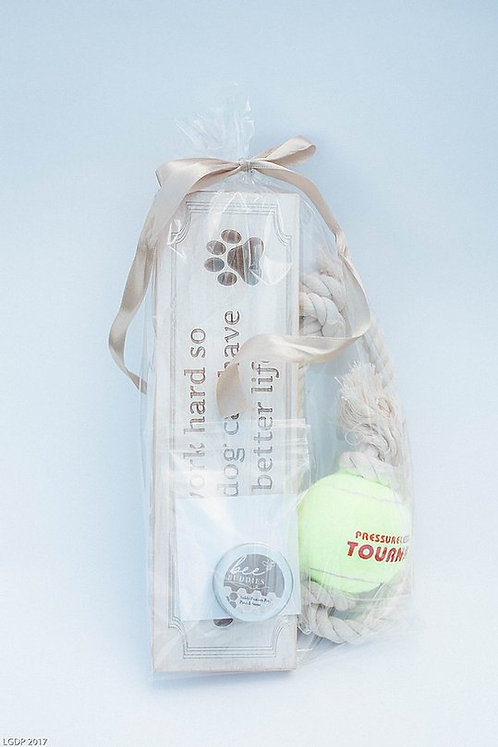 Dog Gift Set - Toy, Laser Engraved Sign, and Paw Balm