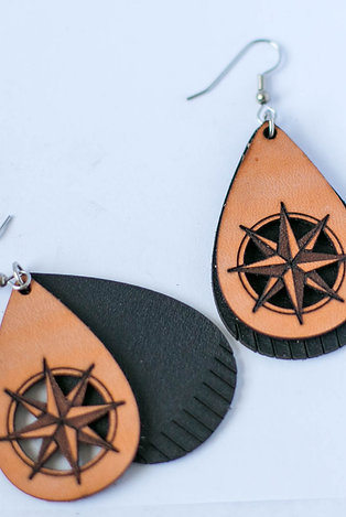 23BL - Mariner's Compass Teardrop Laser Cut Leather Earrings