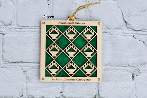 4035 - Quilt Ornaments, Baskets (multi.)