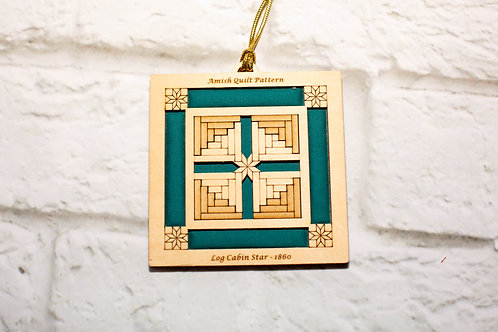 4042 - Quilt Ornament,  Log Cabin Star
