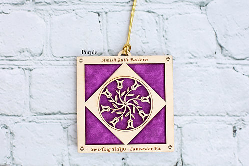 4030 -Quilt Ornament, Swirling Tulips