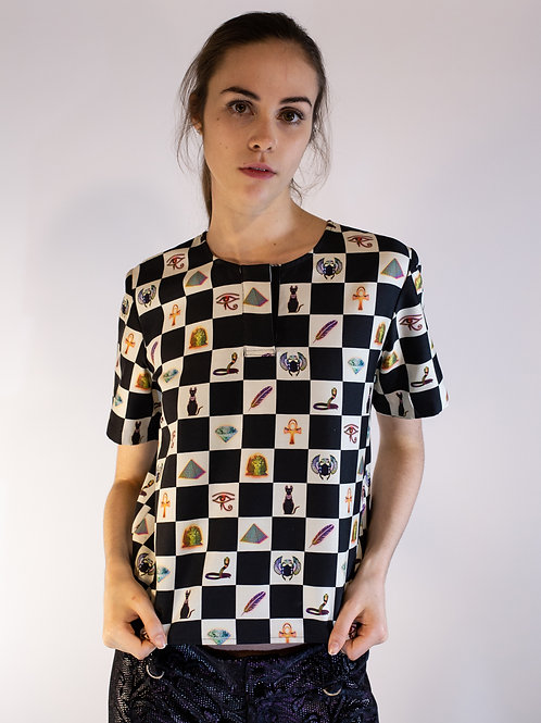 Checkerboard Digital Print Top