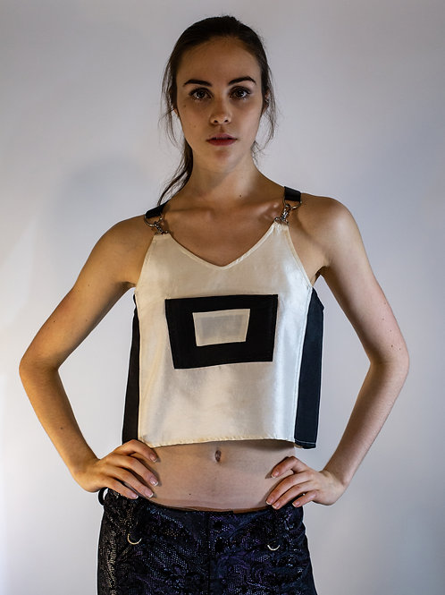 Black and White Overall Top
