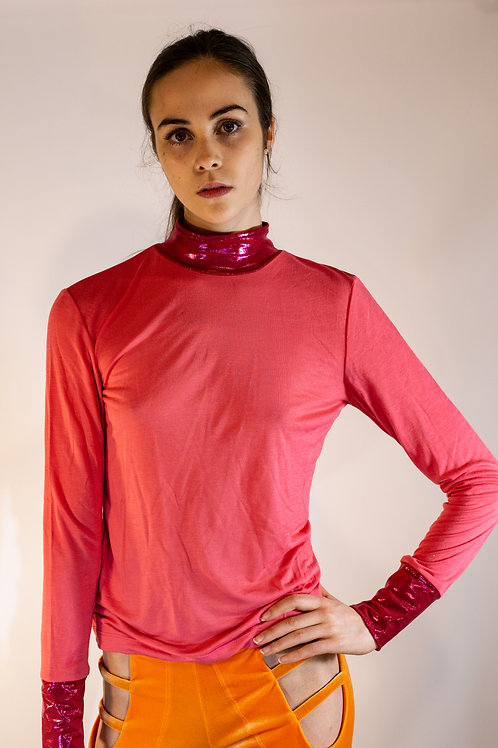 Pale Coral Combo Turtleneck