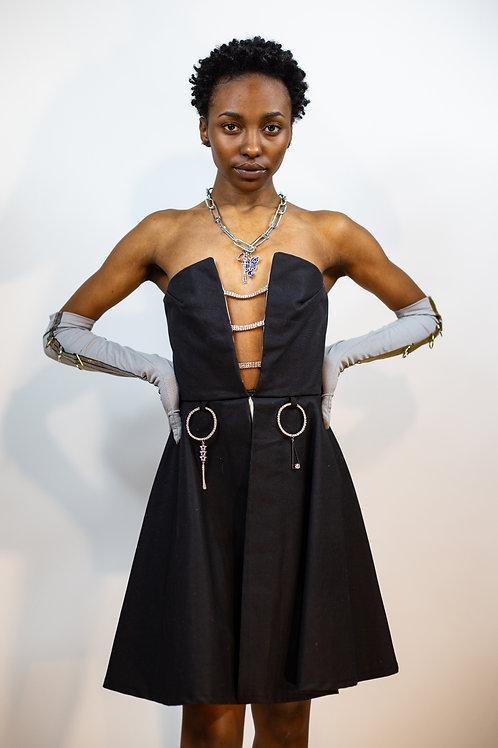 Strapless Earirng Charm Denim Dress