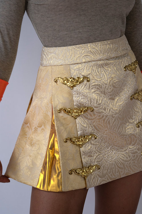 Gold Brocade Mini Skirt with Bronzes
