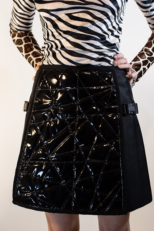 Quilted Buckle Mini Skirt