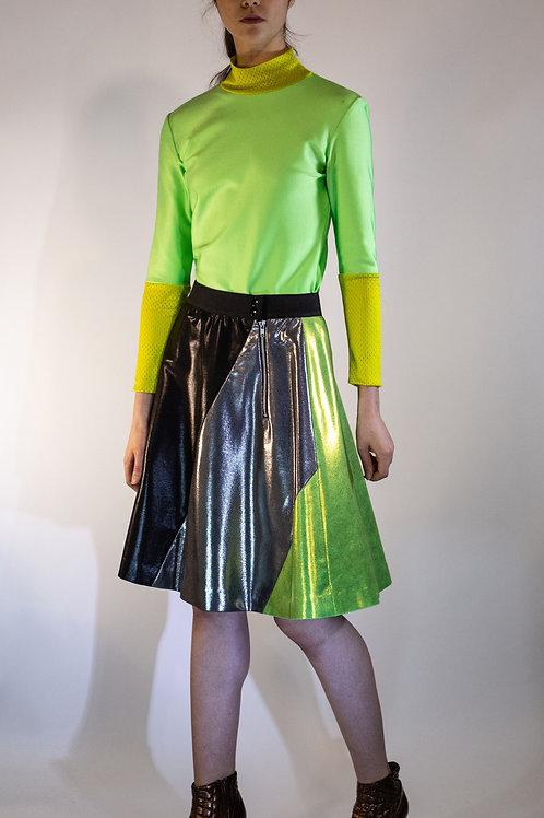 Metallic Colorblocked Lycra Lime Circle Skirt