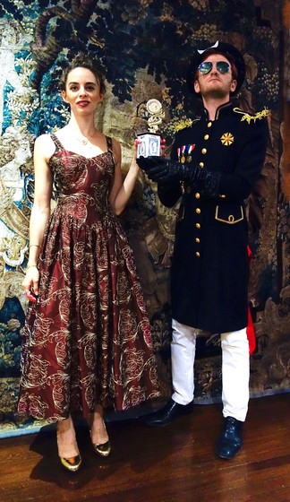 Posing for a photograph with the honorable Baron Thomas von Sokolov III, Archduke of Prussia, at the
