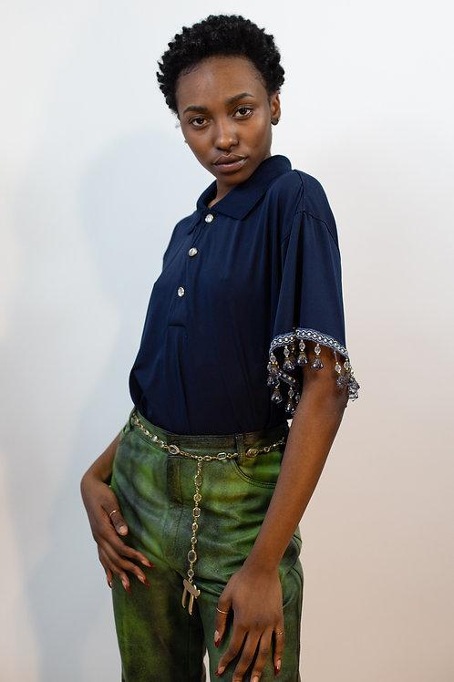 Genderless Polo with Jeweled Tassel Sleeves