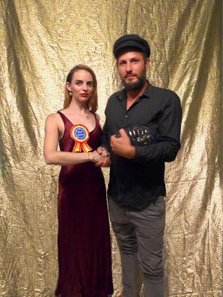 Esteemed gallerist Meir Cohen from the Monaco Royal Museum awarding me with the Best Choice Art Awar