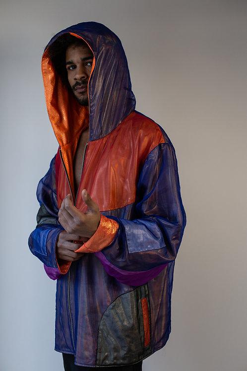 Genderless Over-Sized Organza Iredescent Color-Block Jacket