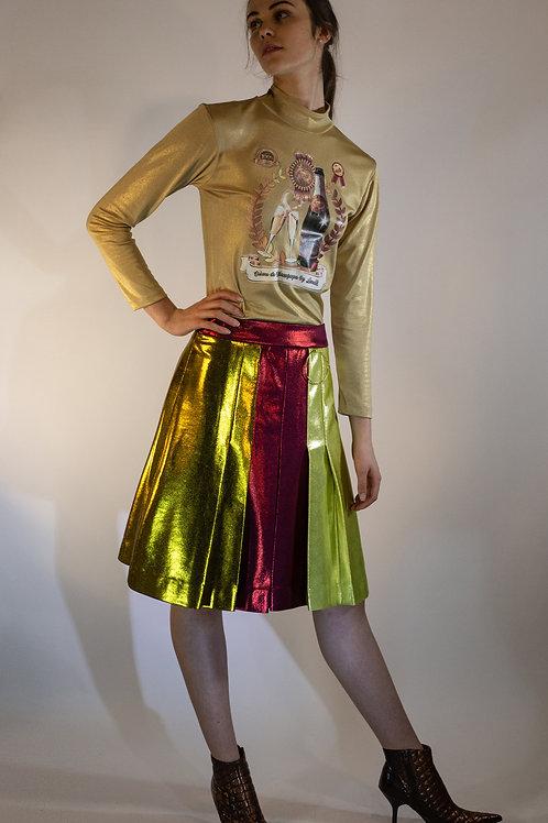 Metallic Pleated Lycra Skirt