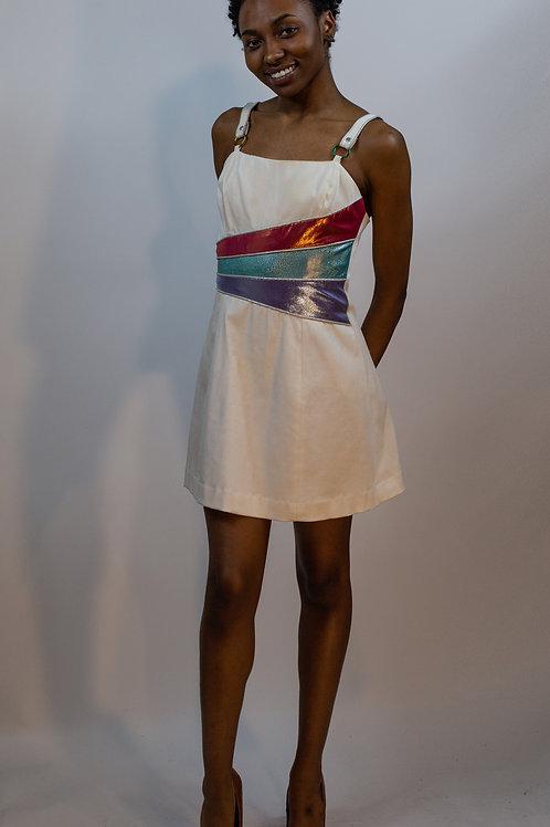 Wavy Waist Insert Denim Dress