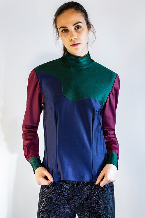 Navy Colorblocked Turtleneck