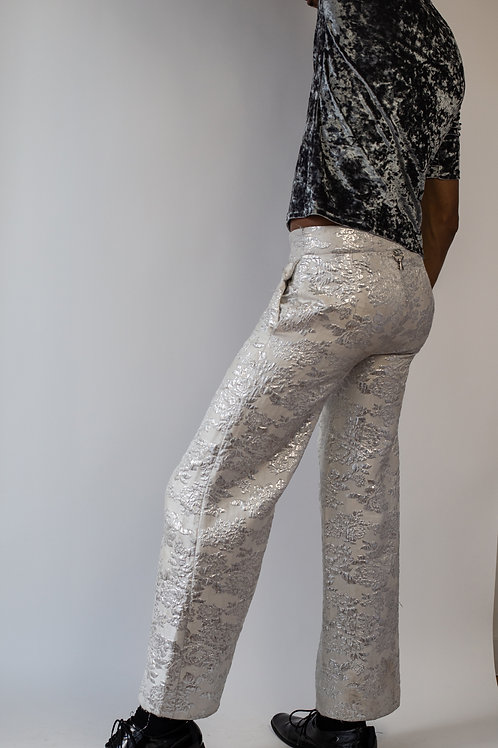 Genderless White Brocade Pants