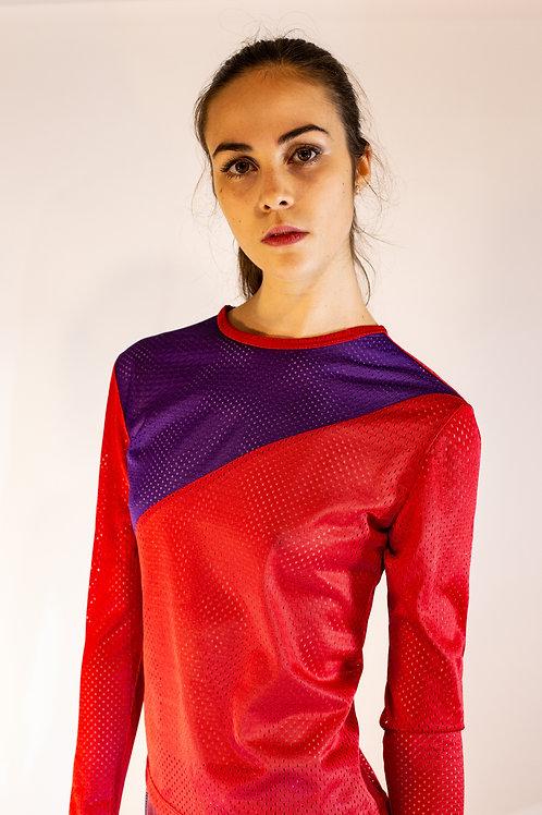 Genderless Cherry / Purple Diagonal Mesh Top