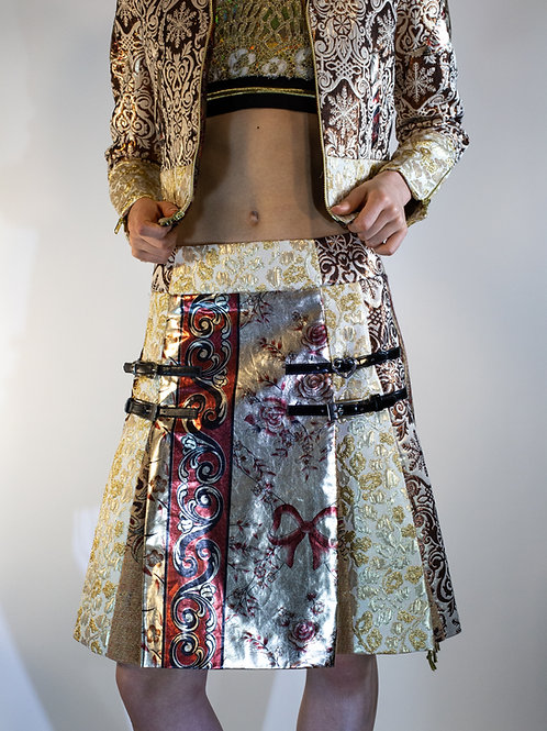 Mixed Media Pashmina Brocade Tablecloth Skirt