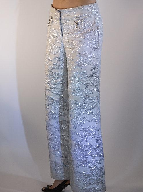 Genderless White Brocade Pants