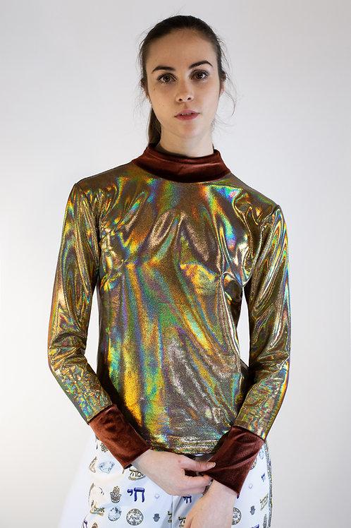 Gold Metallic Lycra Colorblocked Turtleneck