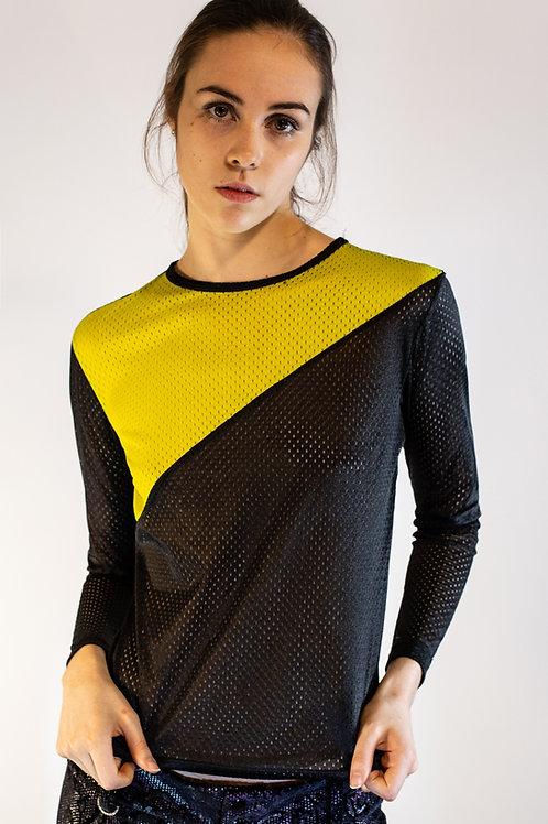 Black and Neon Yellow Diagonal Mesh Top
