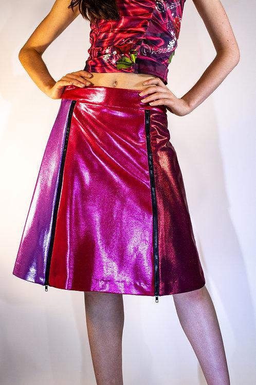 Berry Color Blocked A-line Metallic Zip Skirt